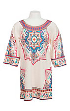 Flying Tomato Girls Cream Ornate Print Long Sleeve Dress