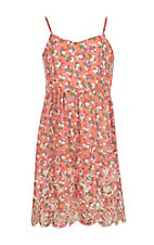 Flying Tomato Girl's Coral Floral Print Spaghetti Strap Dress