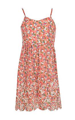 Flying Tomato Girls' Coral Floral Print Spaghetti Strap Dress