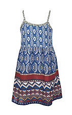 Flying Tomato Girl's Blue and White Multi Print Sleeveless A-Line Dress