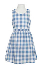 Flying Tomato Girl's Blue and White Checkered Dress