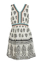 Flying Tomato Girl's Ivory and Black Print Embroidered Dress
