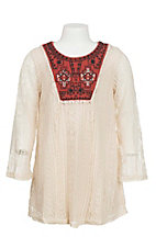 Flying Tomato Girl's Ivory Lace with Rust Yoke Long Sleeves Dress