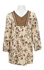 Flying Tomato Girl's Cream, Moss, Pink, and Toffee Floral  Print Long Cinch Sleeve Dress