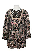 Flying Tomato Girl's Black, Taupe, Pink, and Burgundy Paisley Print Long Cinch Sleeve Dress