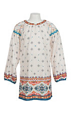 Flying Tomato Girl's Ivroy Ornate Print Long Sleeve Dress