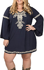 Flying Tomato Women's Navy Blue Embroidered Dress - Plus Drive