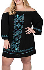 Flying Tomato Women's Black with Turquoise Embroidered Dress - Plus Size