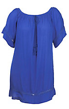Flying Tomato Women's Blue with Crochet Detailing Short Sleeve Dress - Plus Size