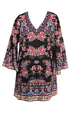 Flying Tomato Women's Black Print Long Sleeve Dress - Plus Size