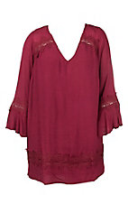 Flying Tomato Women's Berry with Crochet Detailing Long Bell Sleeve Dress - Plus Size