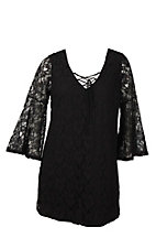 Flying Tomato Women's Black Lace with Lace Up V-Neck Long Bell Sleeve Dress - Plus Size