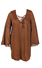 Flying Tomato Women's Brown Faux Suede with Lace Up Front and Long Bell Sleeves Dress - Plus Size