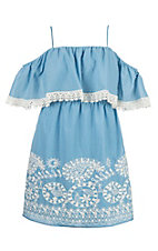 Flying Tomato Women's Light Blue with Embroidery Dress