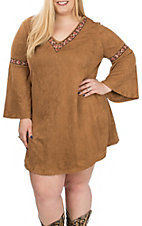 Flying Tomato Women's Brown Faux Suede with Embroidery Bell Sleeve Dress - Plus Sizes