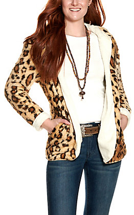 Peach Love Women's Leopard and Cream Reversible Long Sleeve Hooded Jacket