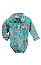 Cowgirl Legend Infant Girls Turquoise Print Long Sleeve Western Snap Onesie