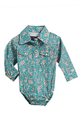 Cowgirl Legend Infant Girls' Turquoise Print Long Sleeve Western Snap Onesie