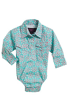 Cowgirl Legends Infant Girls Turquoise Print Long Sleeve Western Snap Onesie