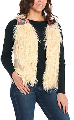 Flying Tomato Women's Ivory Shag with Embroidery Vest