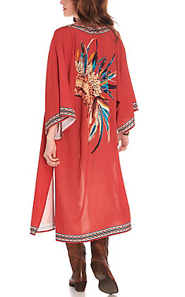 Rockin C Women's Rust with Multi-Colored Headdress 3/4 Sleeves Kimono
