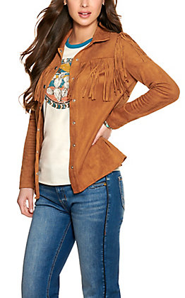 Flying Tomato Women's Camel Faux Suede with Fringe and Tie Jacket
