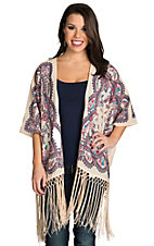 Flying Tomato Women's Cream Floral Cardigan with Fringe