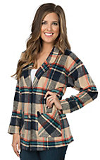 Flying Tomato Women's Navy Multicolor Plaid Jacket