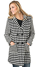 Flying Tomato Women's Black & White Houndstooth Coat