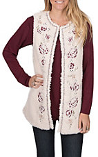 Flying Tomato Women's Ivory Fur Embroidered Vest