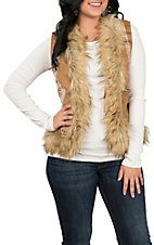 Flying Tomato Women's Camel Faux Fur Vest