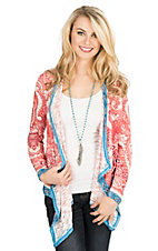 Flying Tomato Women's Coral and Cream Paisley Print Long Sleeve Cardigan
