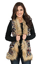 Flying Tomato Women's Blue, Cream, and Orange Tapestry Fur Lined Vest