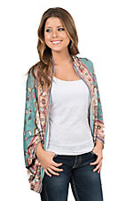 Flying Tomato Women's Teal Aztec Print Long Sleeve Cocoon Style Cardigan