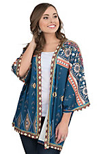 Flying Tomato Women's Navy Exotic Print Long Sleeve Cardigan