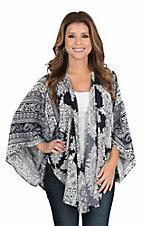 Flying Tomato Women's Navy and White Paisley Print Long Sleeve Kimono