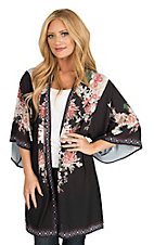 Flying Tomato Women's Black and Pink Floral Long Sleeve Kimono