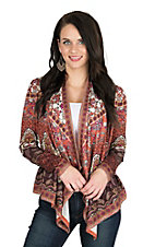 Flying Tomato Women's Orange Paisley Print Long Sleeve Cardigan