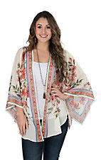 Flying Tomato Women's Cream Multi Floral Print Long Bell Sleeve Kimono