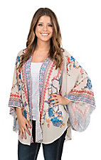 Flying Tomato Women's Ivory Floral Print Long Sleeve Kimono