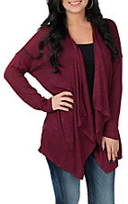 Moa Moa Women's Burgundy Lace Up Back Cardigan Kimono