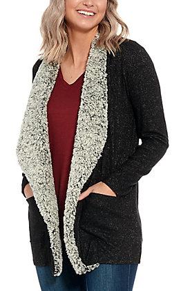 Moa Moa Women's Charcoal Sherpa Long Sleeve Sweater Cardigan