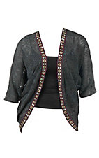 Flying Tomato Women's Charcoal with Native Embroidery Long Sleeve Cardigan