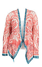 Flying Tomato Women's Coral and Cream Paisley Print Long Sleeve Cardigan - Plus Size