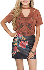 Flying Tomato Women's Black w/ Floral Print Mini Skirt