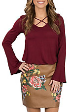 Flying Tomato Women's Camel w/ Floral Print Mini Skirt
