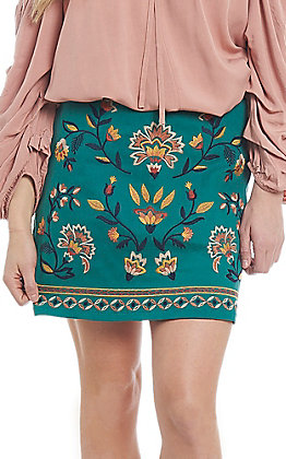 Flying Tomato Women's Teal Embroidered Floral Skirt