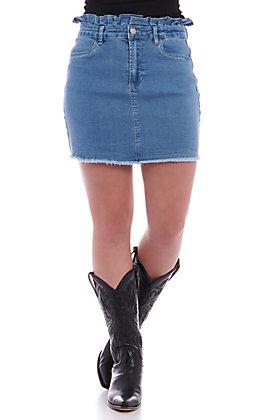 Flying Tomato Women's Ruffle Denim Mini Skirt