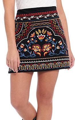 Flying Tomato Women's Black Floral Embroidered Skirt