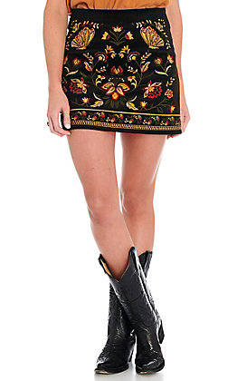 Rockin C Women's Black Velveteen Floral Embroidered Skirt
